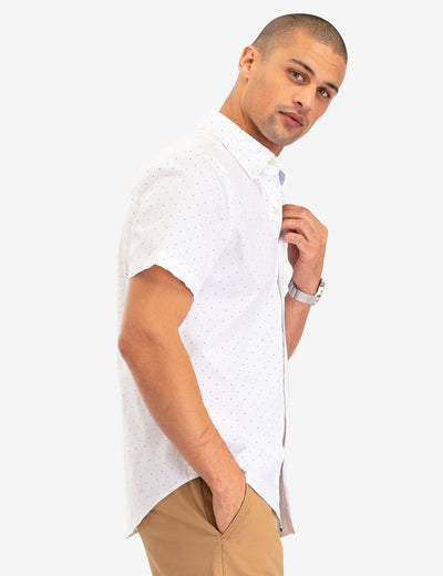 DOT PRINT POPLIN SHORT SLEEVE SHIRT - U.S. Polo Assn.