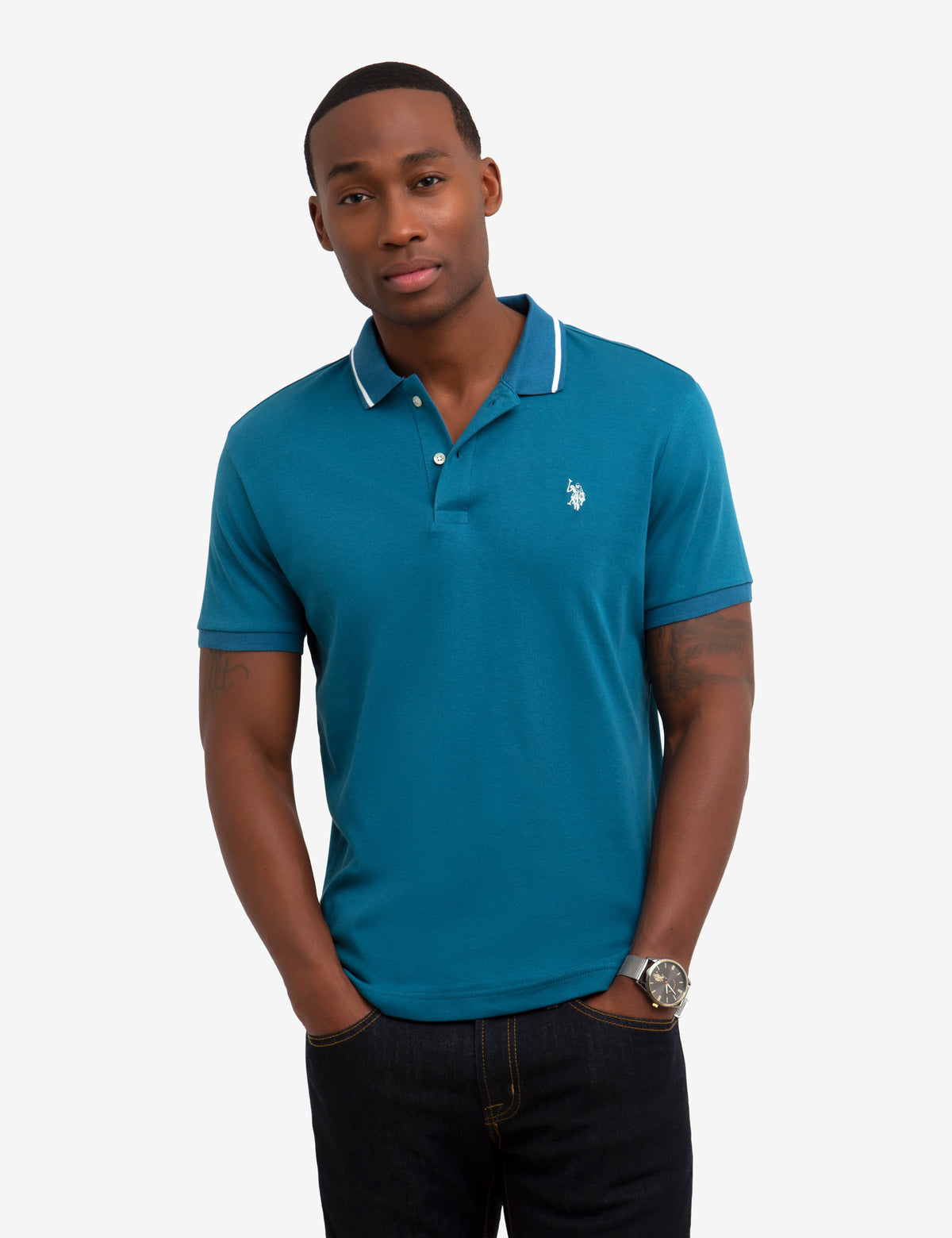 SLIM FIT TIPPED INTERLOCK POLO SHIRT - U.S. Polo Assn.