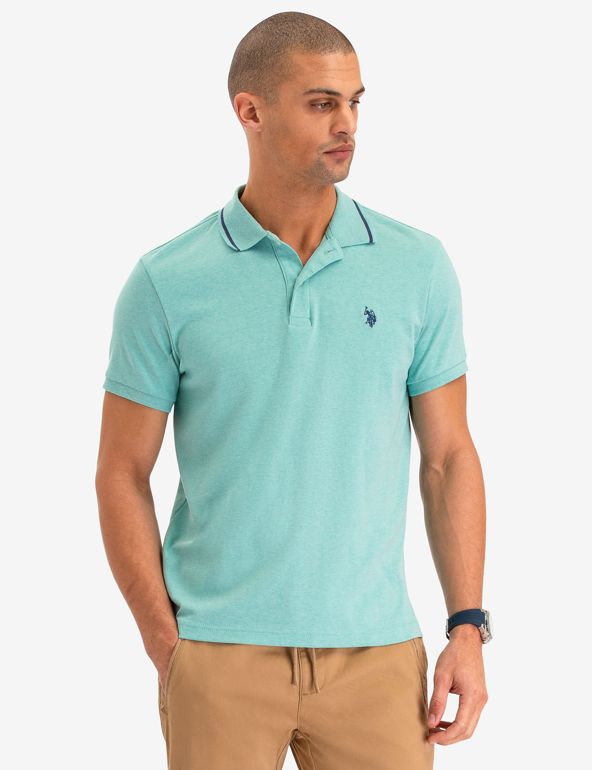 SLIM FIT TIPPED INTERLOCK POLO SHIRT