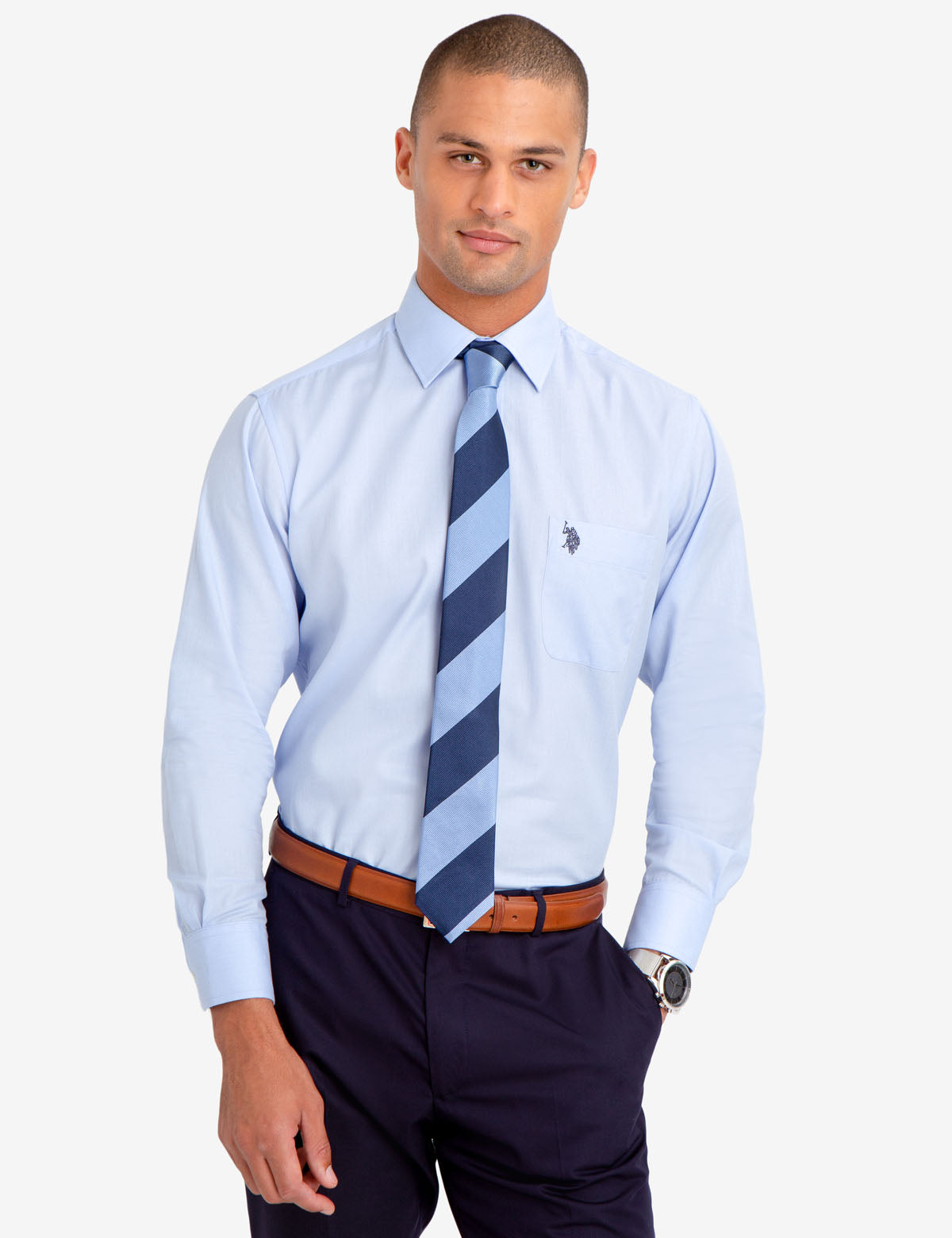 SPREAD COLLAR SOLID HERRINGBONE DRESS SHIRT