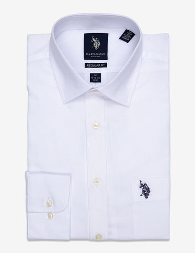 SPREAD COLLAR SOLID HERRINGBONE DRESS SHIRT - U.S. Polo Assn.