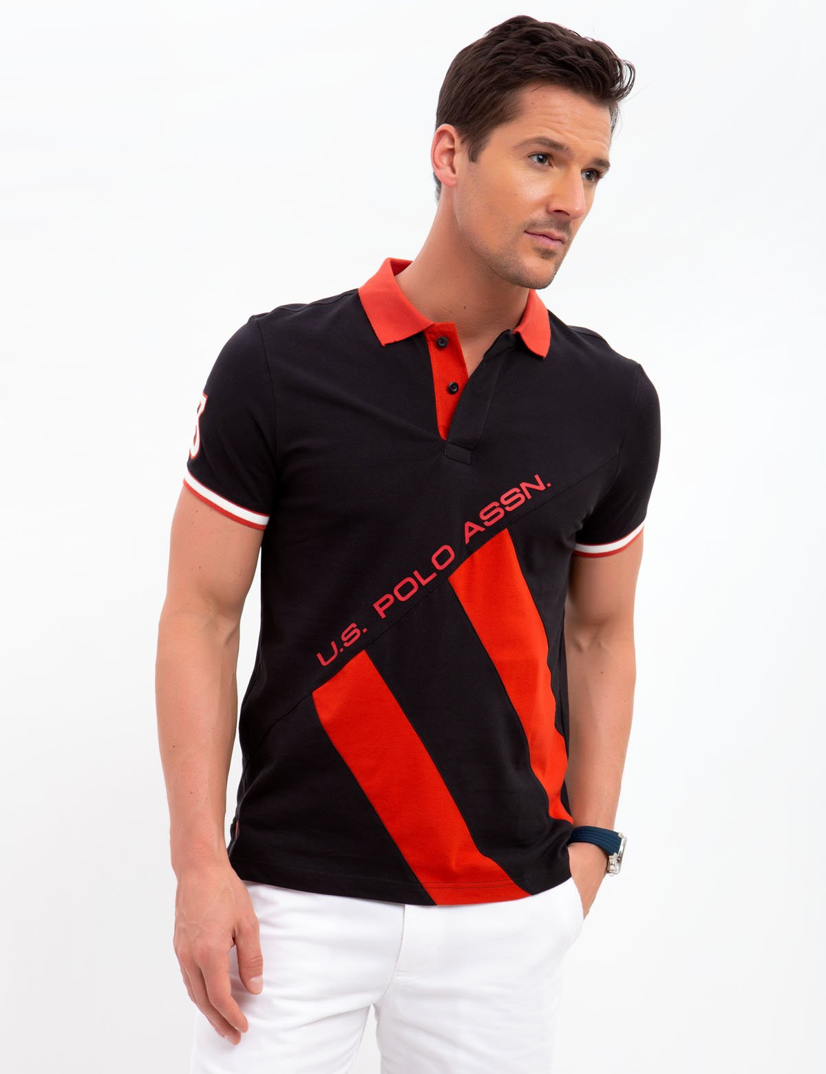 SLIM FIT STRETCH DIAGONAL POLO SHIRT