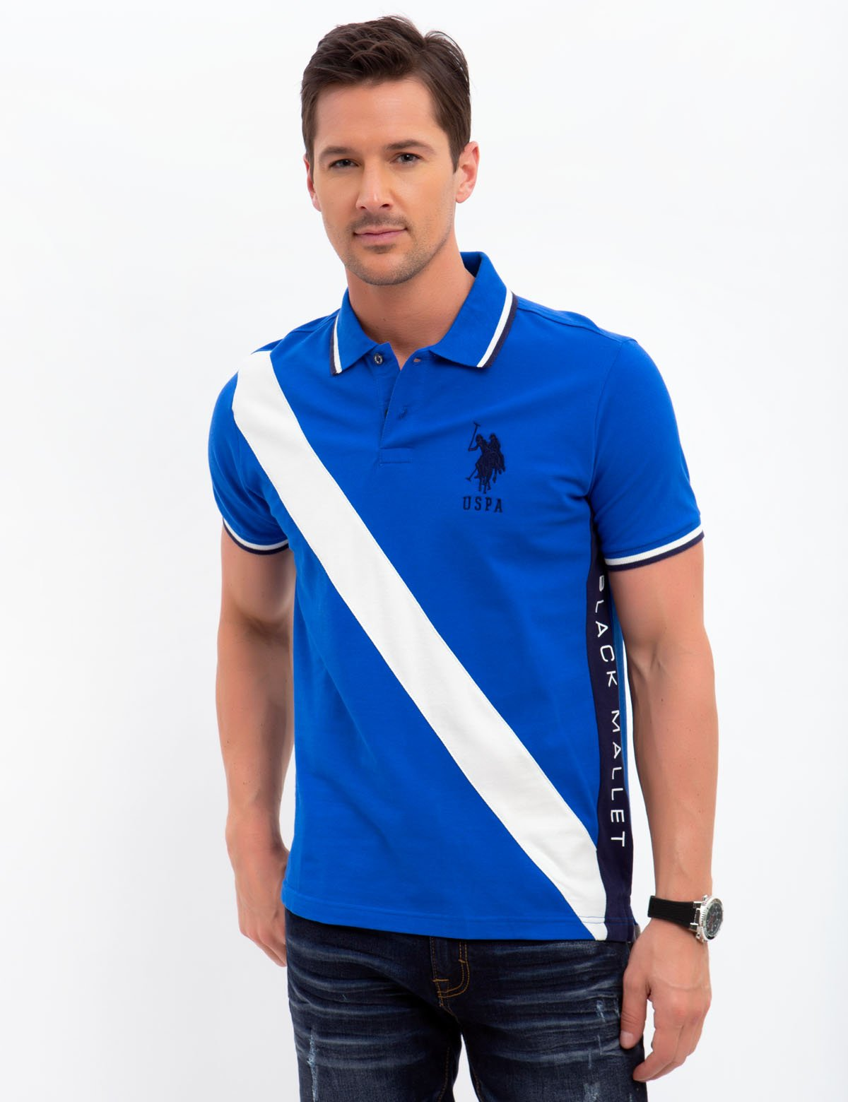 SLIM FIT BLACK MALLET DIAGONAL STRIPE POLO SHIRT