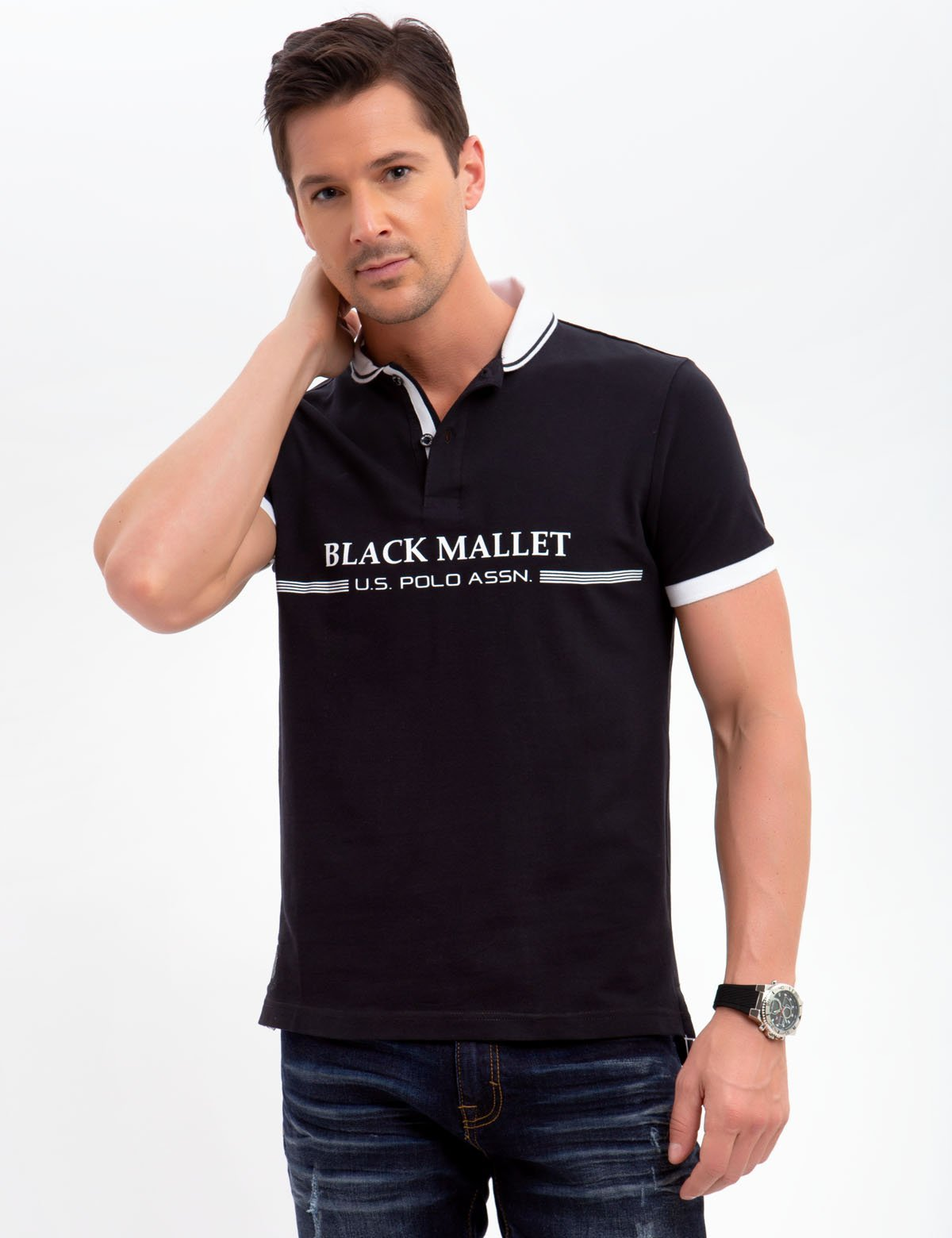 BLACK MALLET POLO SHIRT