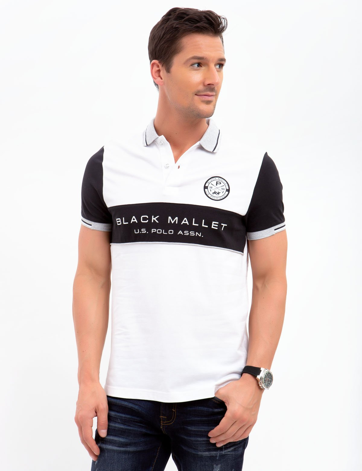 BLACK MALLET SLIM FIT, STRETCH PIQUE, COLORBOCK POLO SHIRT