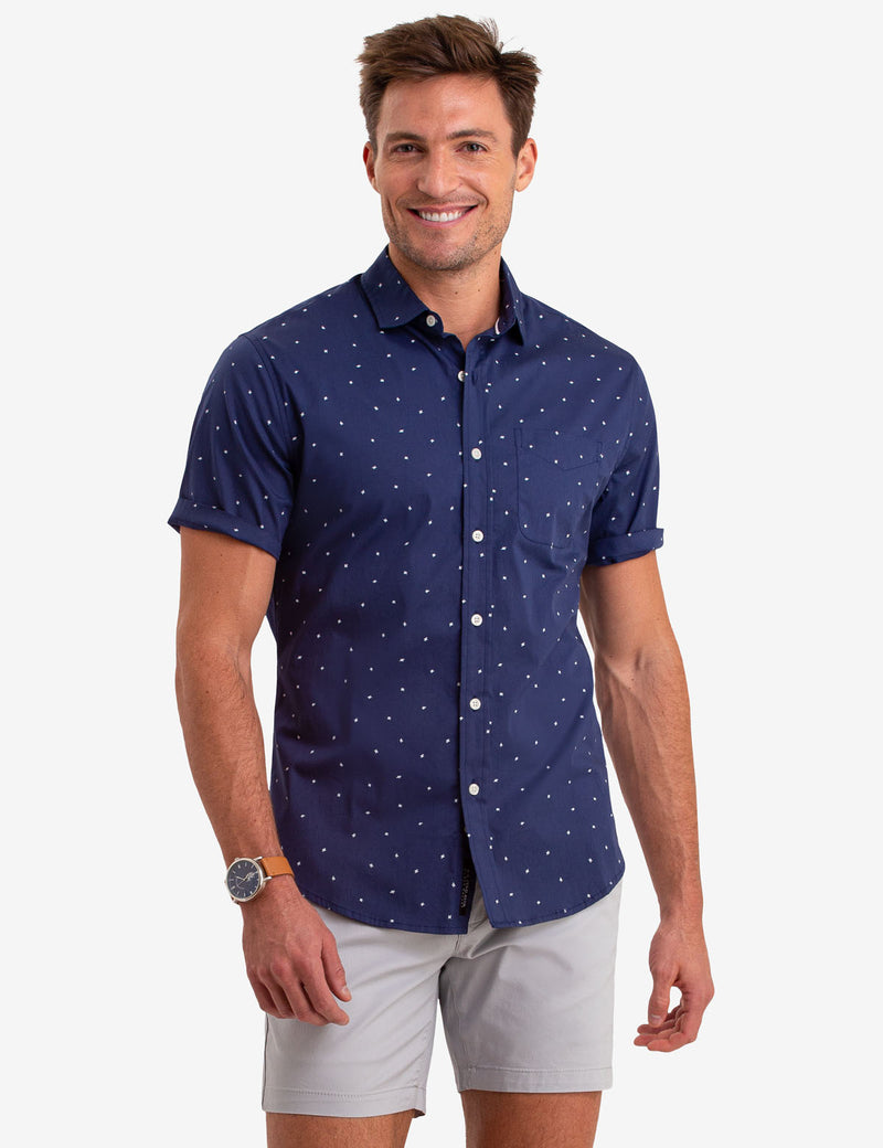 BLACK MALLET DOT PRINT SHORT SLEEVE SHIRT