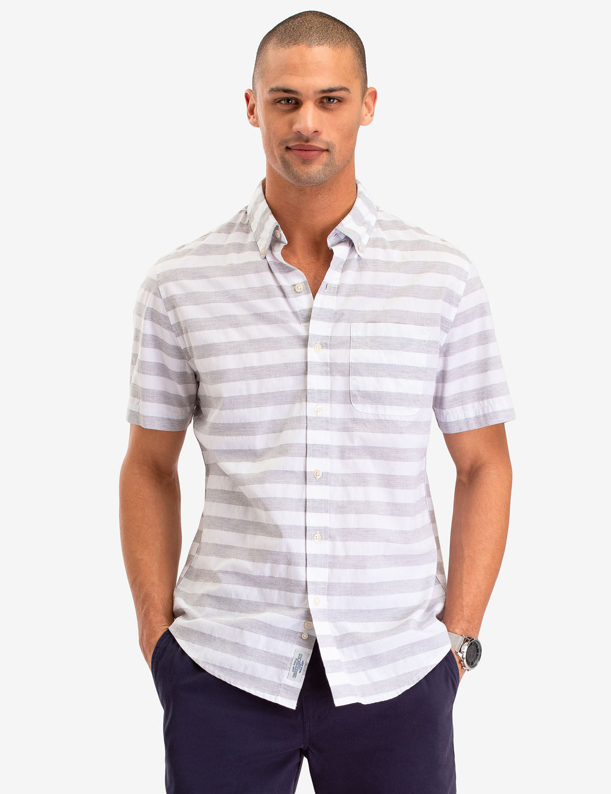 HORIZONTAL STRIPE SHORT SLEEVE SHIRT