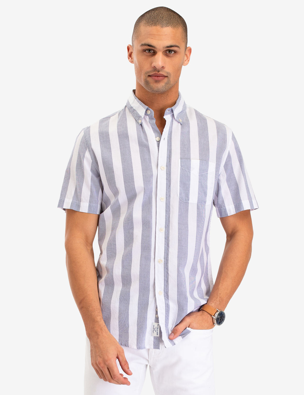 VERTICAL RETRO STRIPE SHORT SLEEVE SHIRT