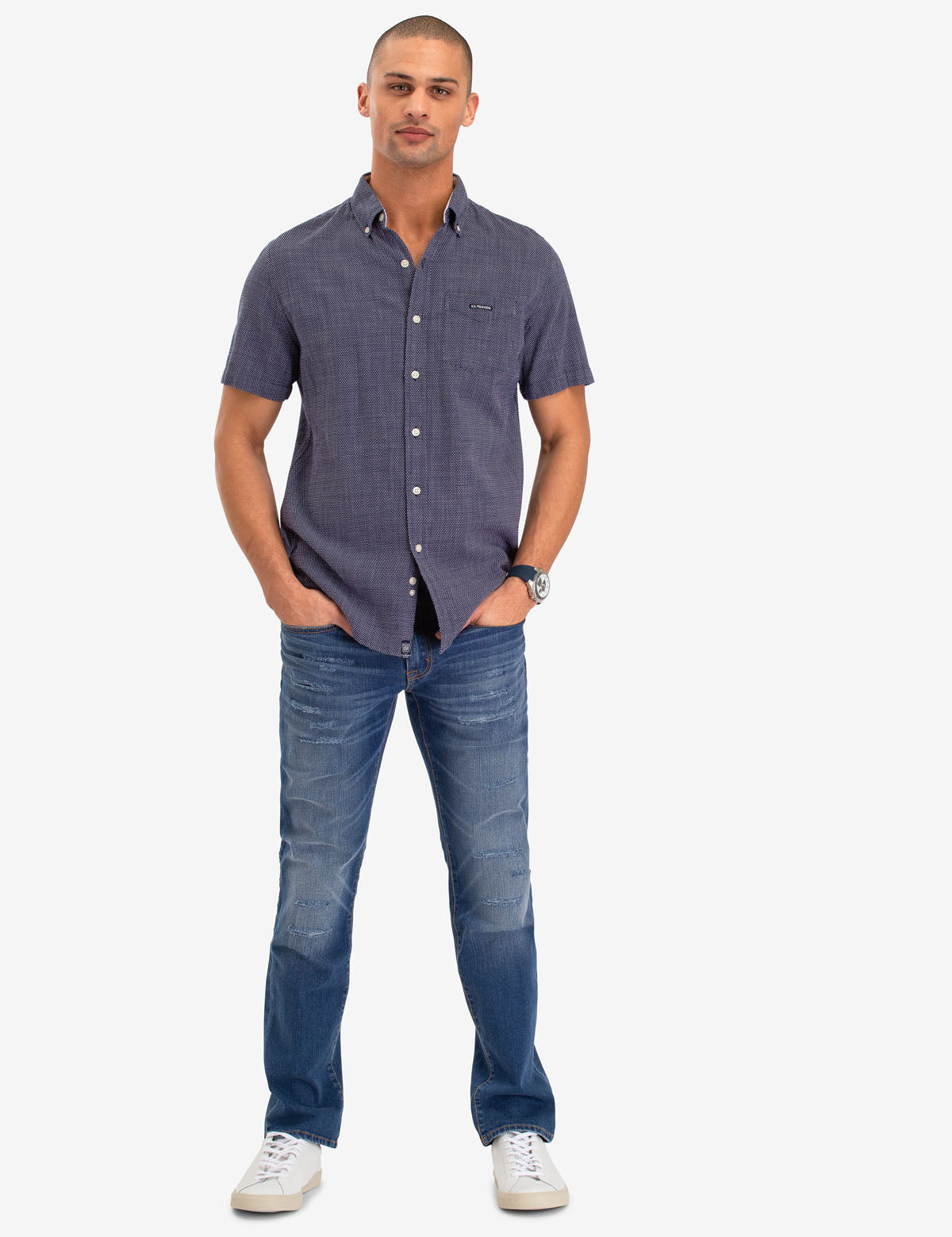 PLAID DOBBY SHORT SLEEVE SHIRT - U.S. Polo Assn.