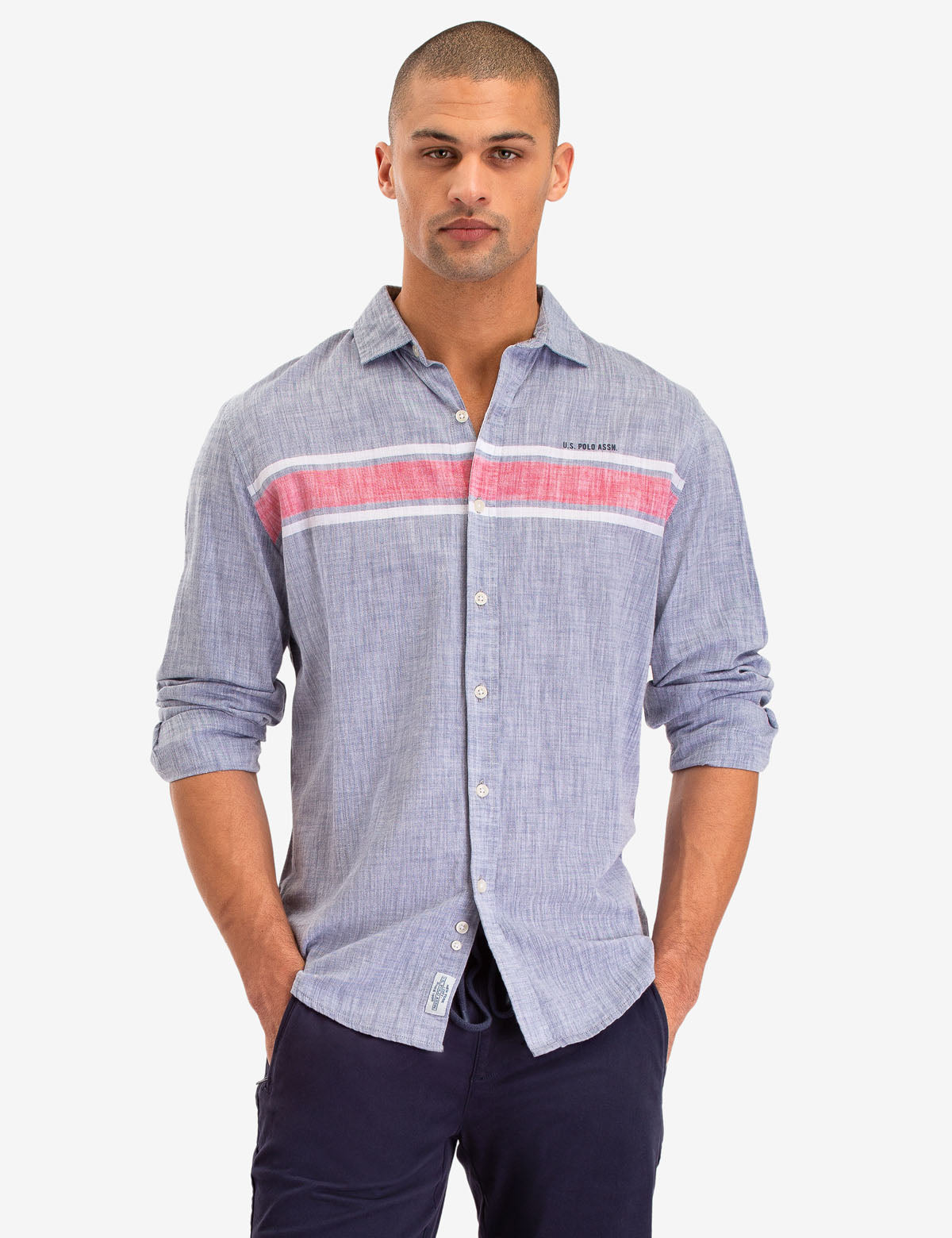 CHEST STRIPE LONG SLEEVE SHIRT