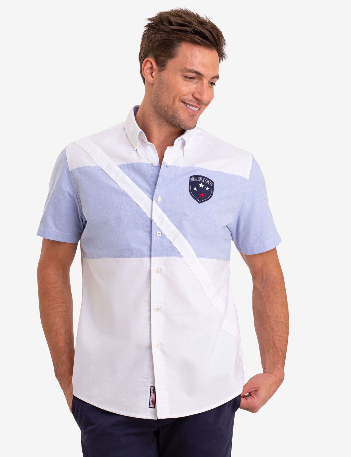 DIAGONAL STRIPE OXFORD SHORT SLEEVE SHIRT