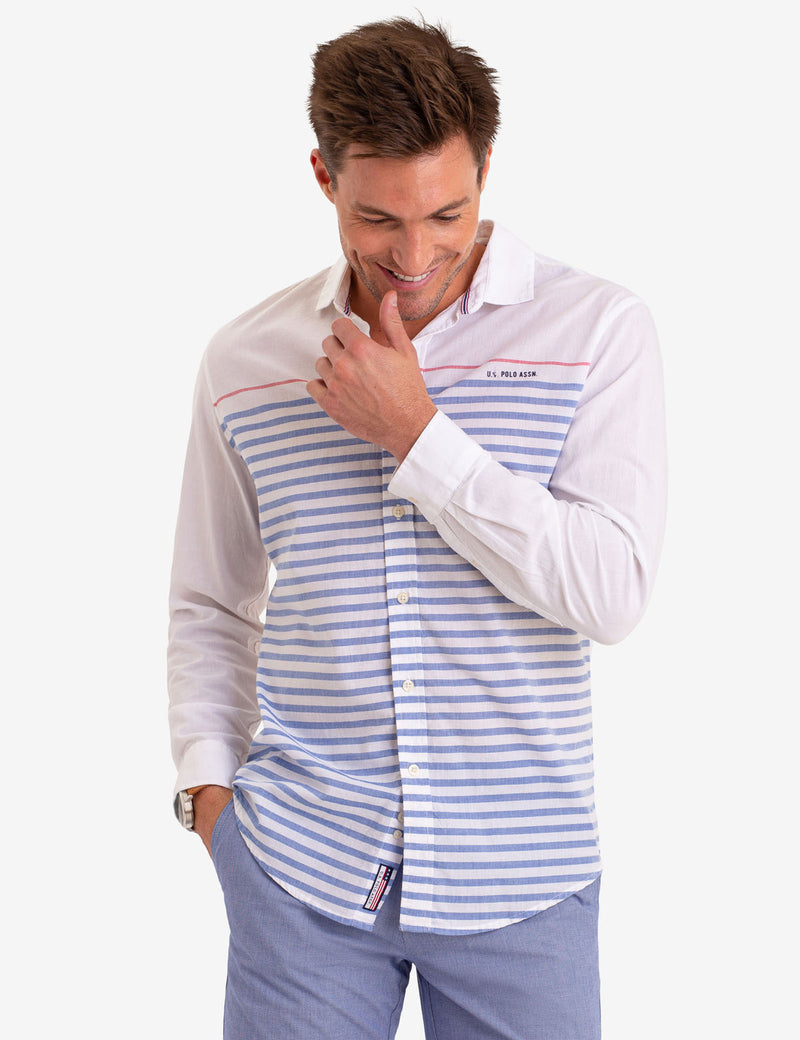 CONTRAST STRIPED LONG SLEEVE SHIRT