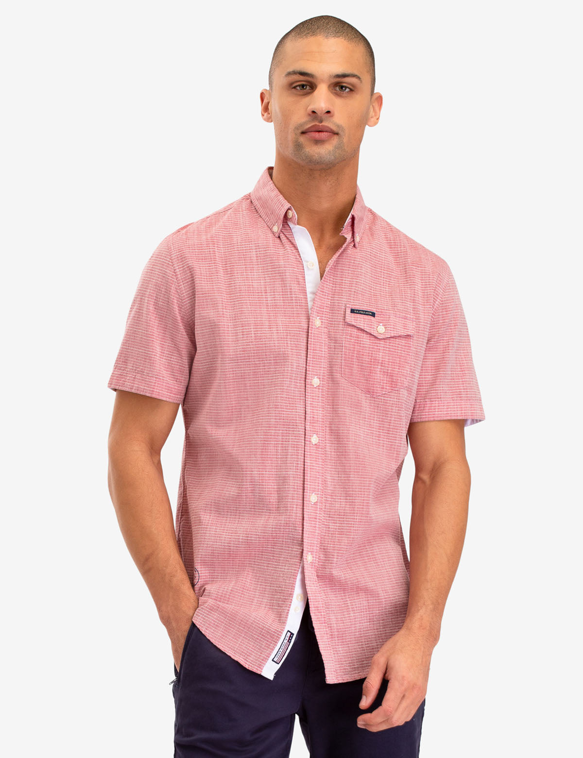 HORIZONTAL STRIPE DOBBY SHORT SLEEVE SHIRT