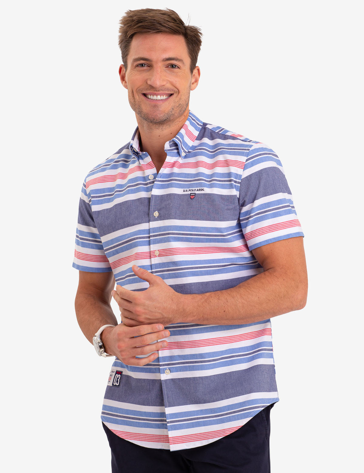 HORIZONTAL STRIPE OXFORD SHORT SLEEVE SHIRT