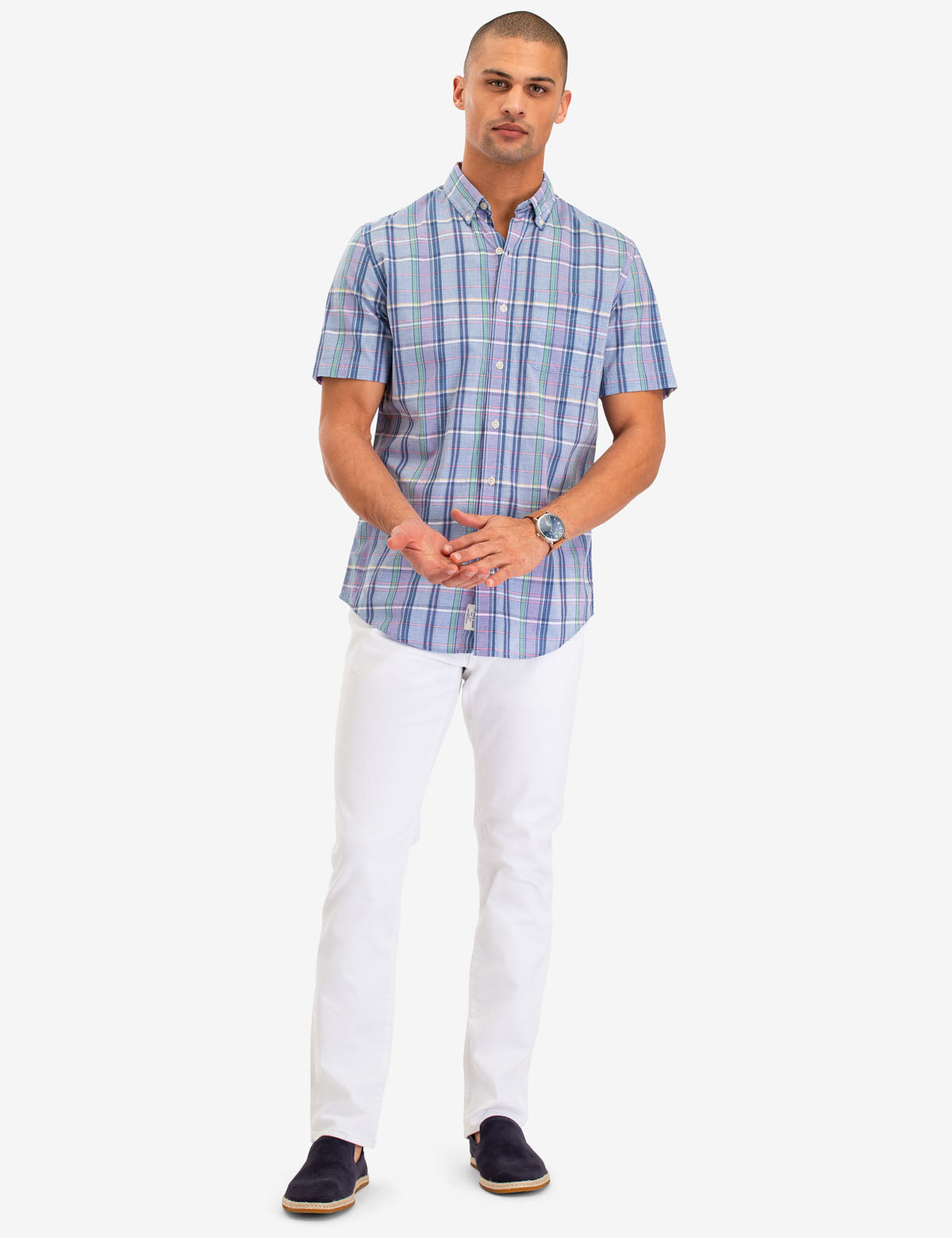 PLAID POPLIN SHORT SLEEVE SHIRT - U.S. Polo Assn.