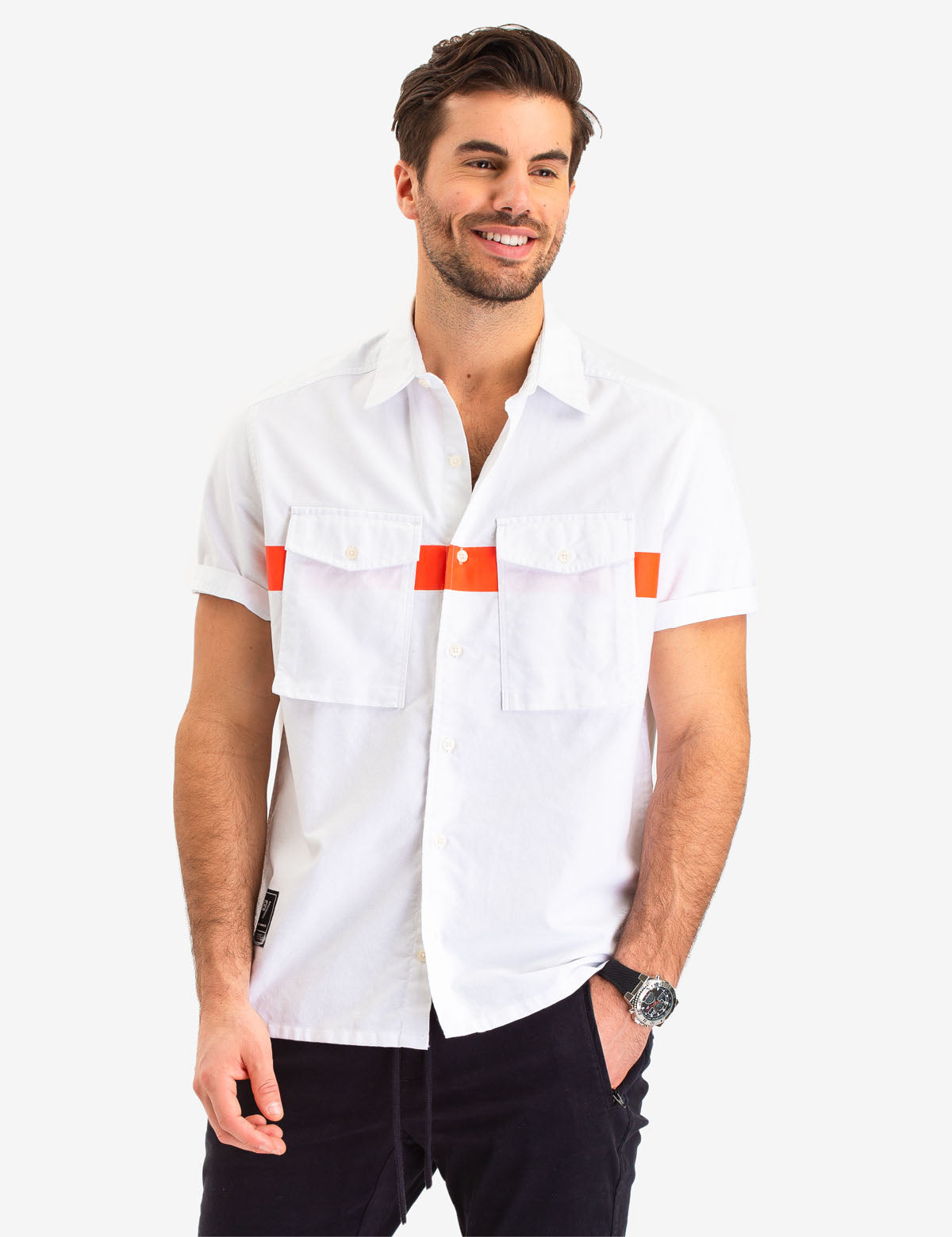 CHEST STRIPE TWO POCKET SHORT SLEEVE SHIRT