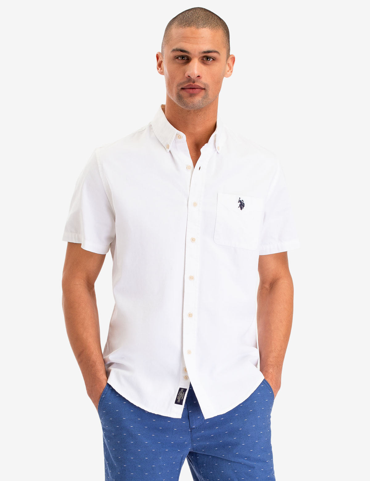 WHITE DENIM SHORT SLEEVE SHIRT
