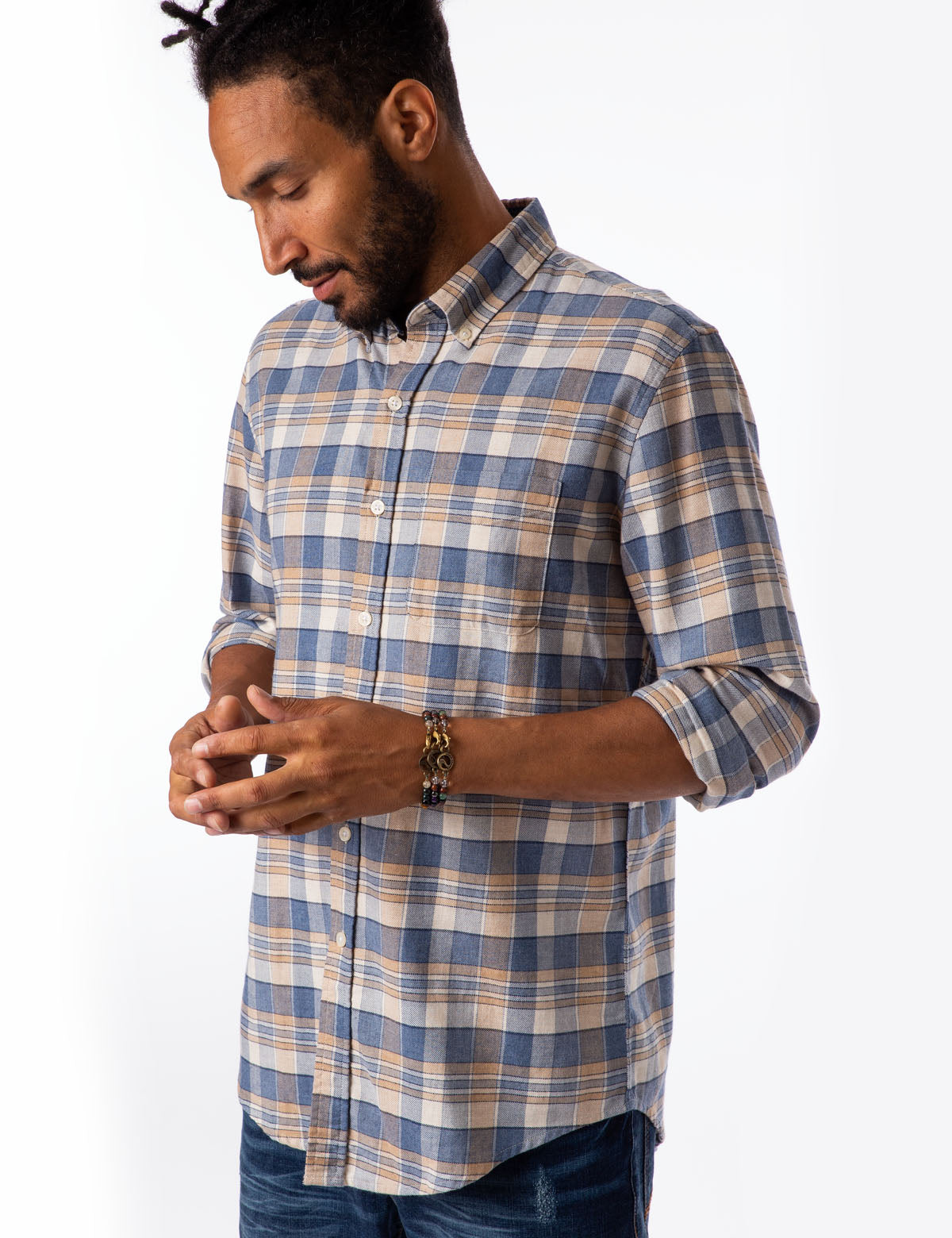 HEATHERED CANVAS PLAID SHIRT - U.S. Polo Assn.