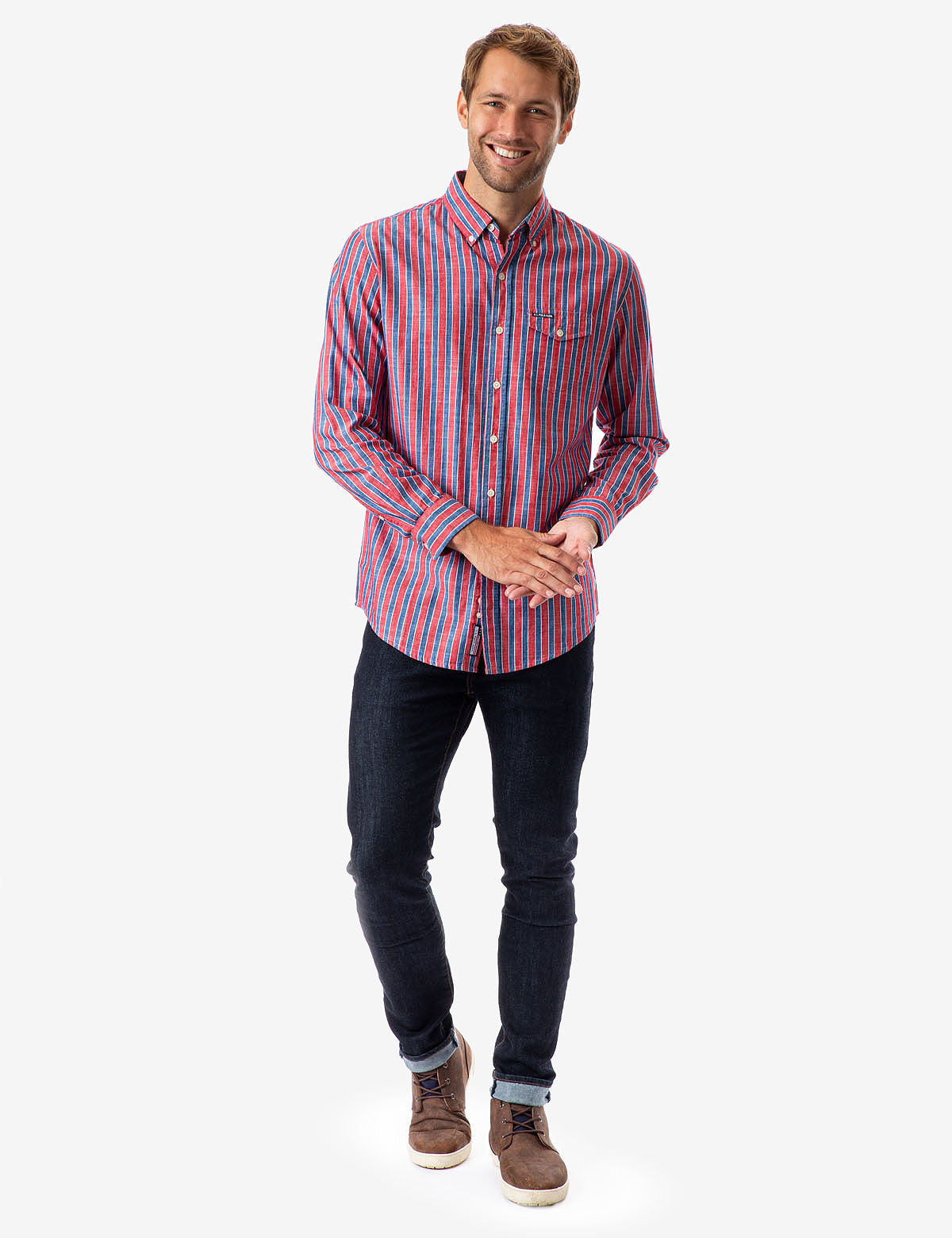 STRIPED TEXTURED POPLIN LONG SLEEVE SHIRT - U.S. Polo Assn.