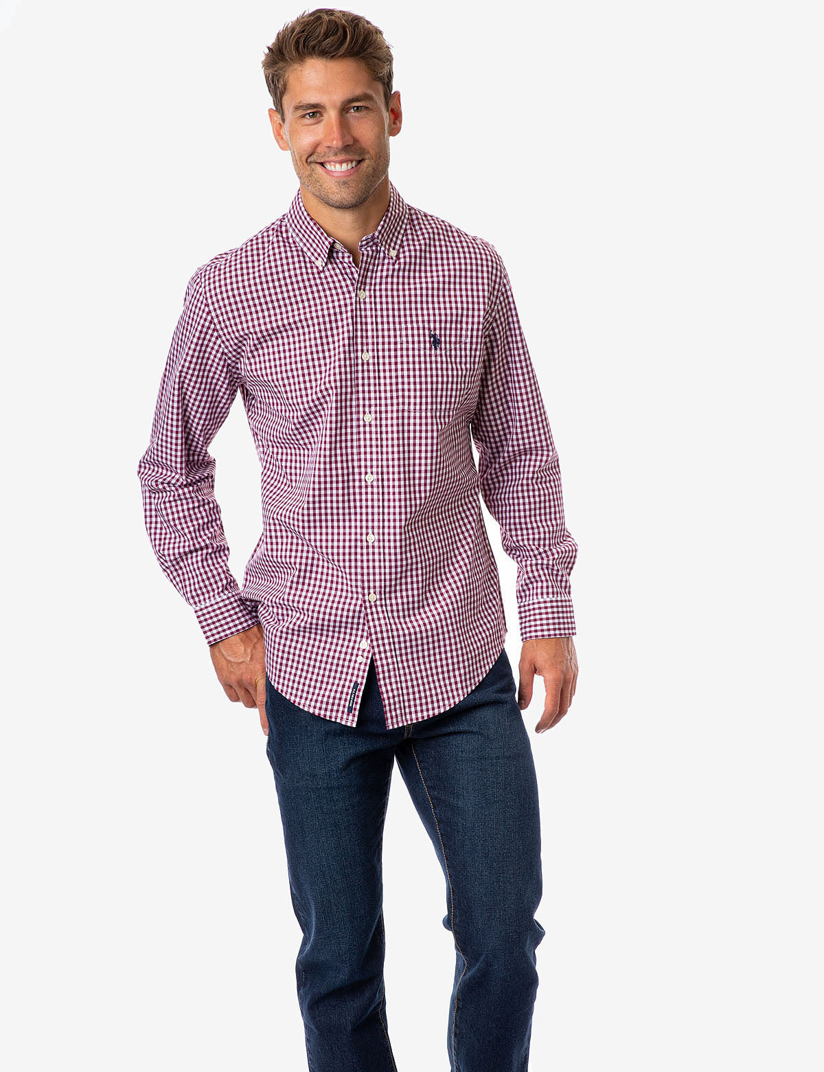 GINGHAM PLAID POPLIN SHIRT - U.S. Polo Assn.