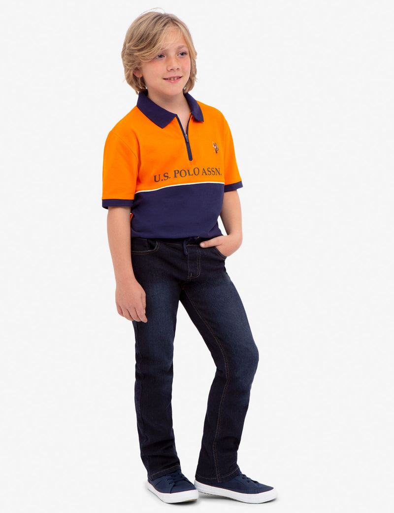 BOYS COLORBLOCK PIQUE POLO SHIRT