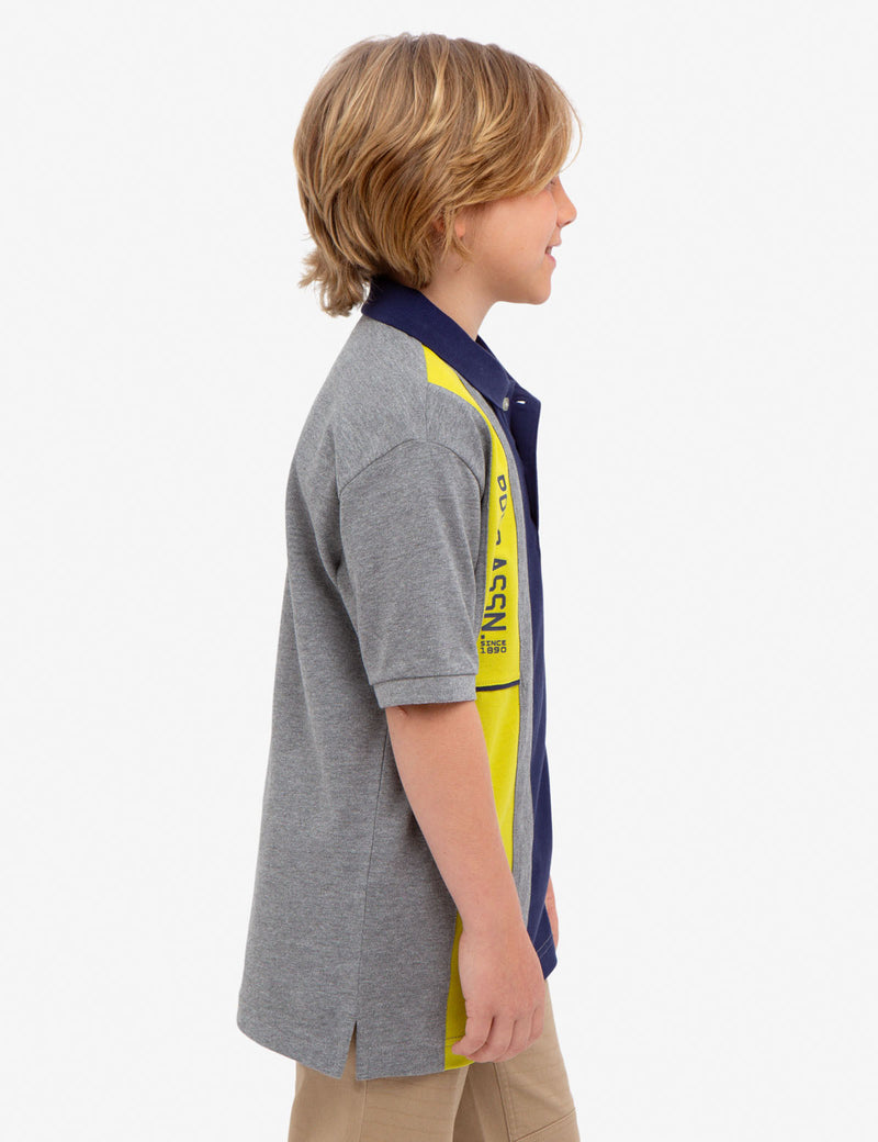 BOYS U.S. POLO ASSN. VERTICAL PIQUE POLO SHIRT