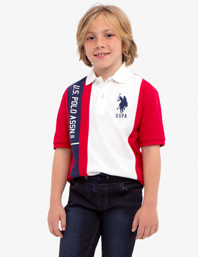 BOYS U.S. POLO ASSN. VERTICAL PIQUE POLO SHIRT - U.S. Polo Assn.