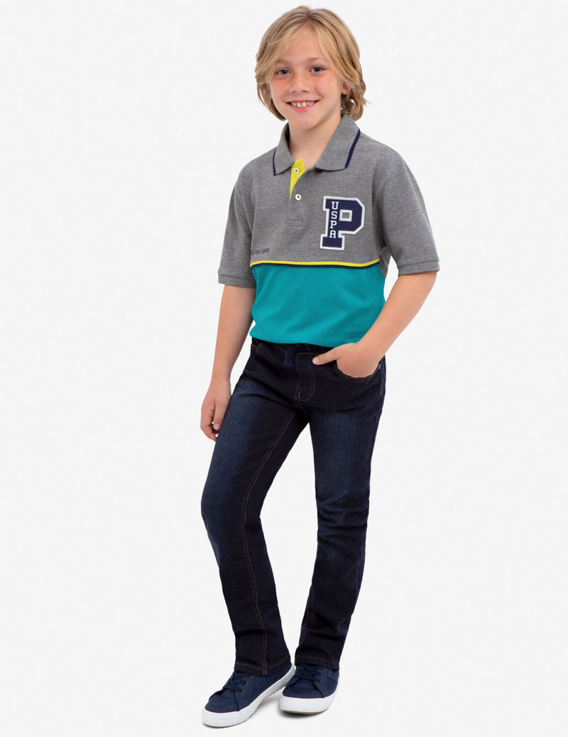 BOYS FELT PATCH POLO SHIRT