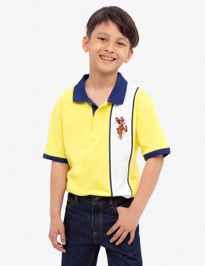 BOYS PIQUE VERTICAL COLORBLOCK POLO SHIRT - U.S. Polo Assn.