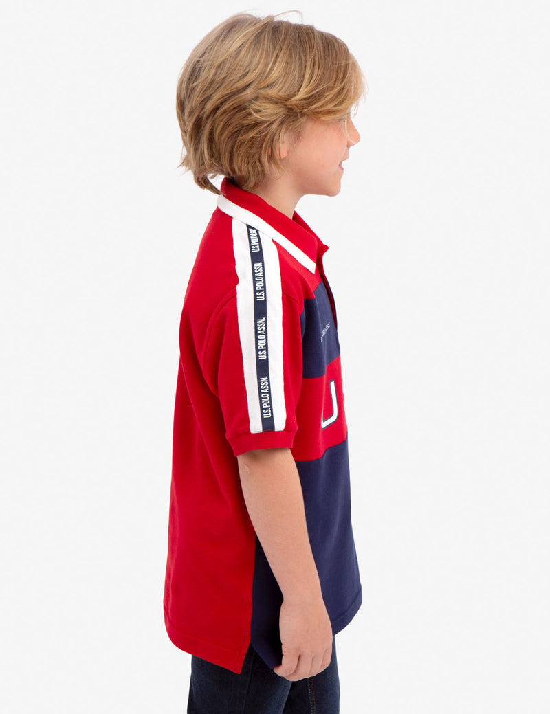 BOYS USA COLORBLOCK PIQUE POLO SHIRT