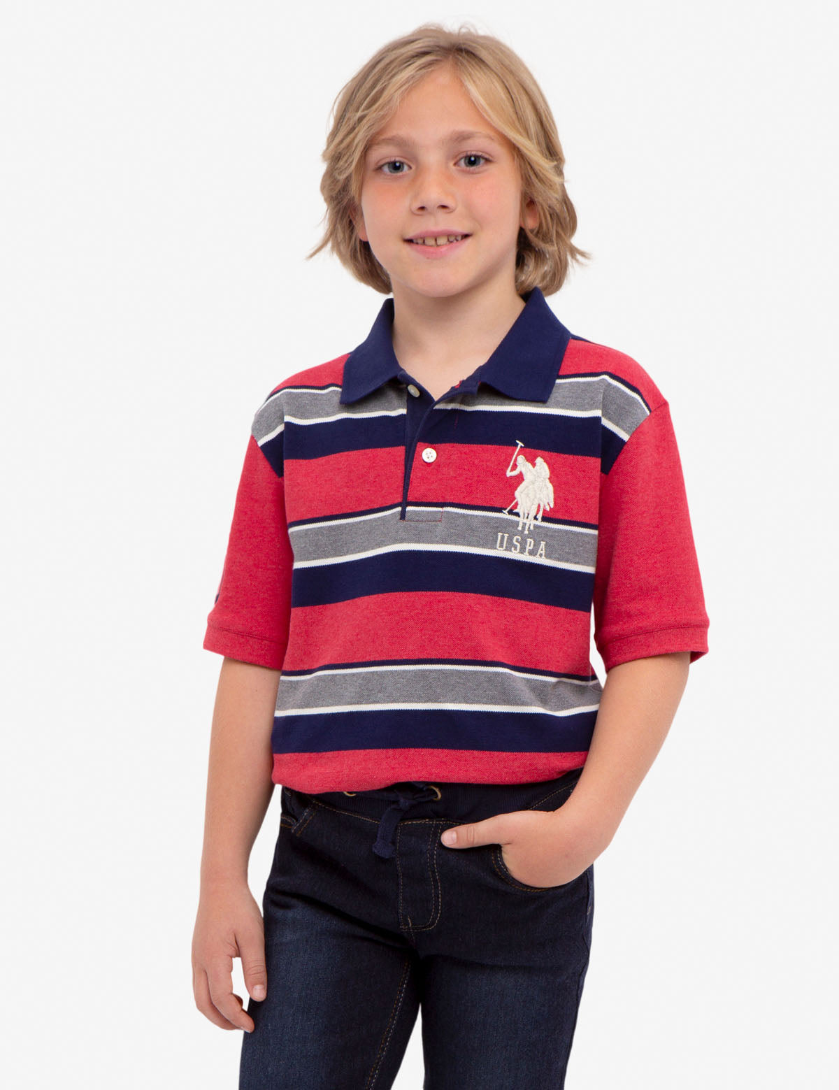 BOYS STRIPED PIQUE POLO SHIRT
