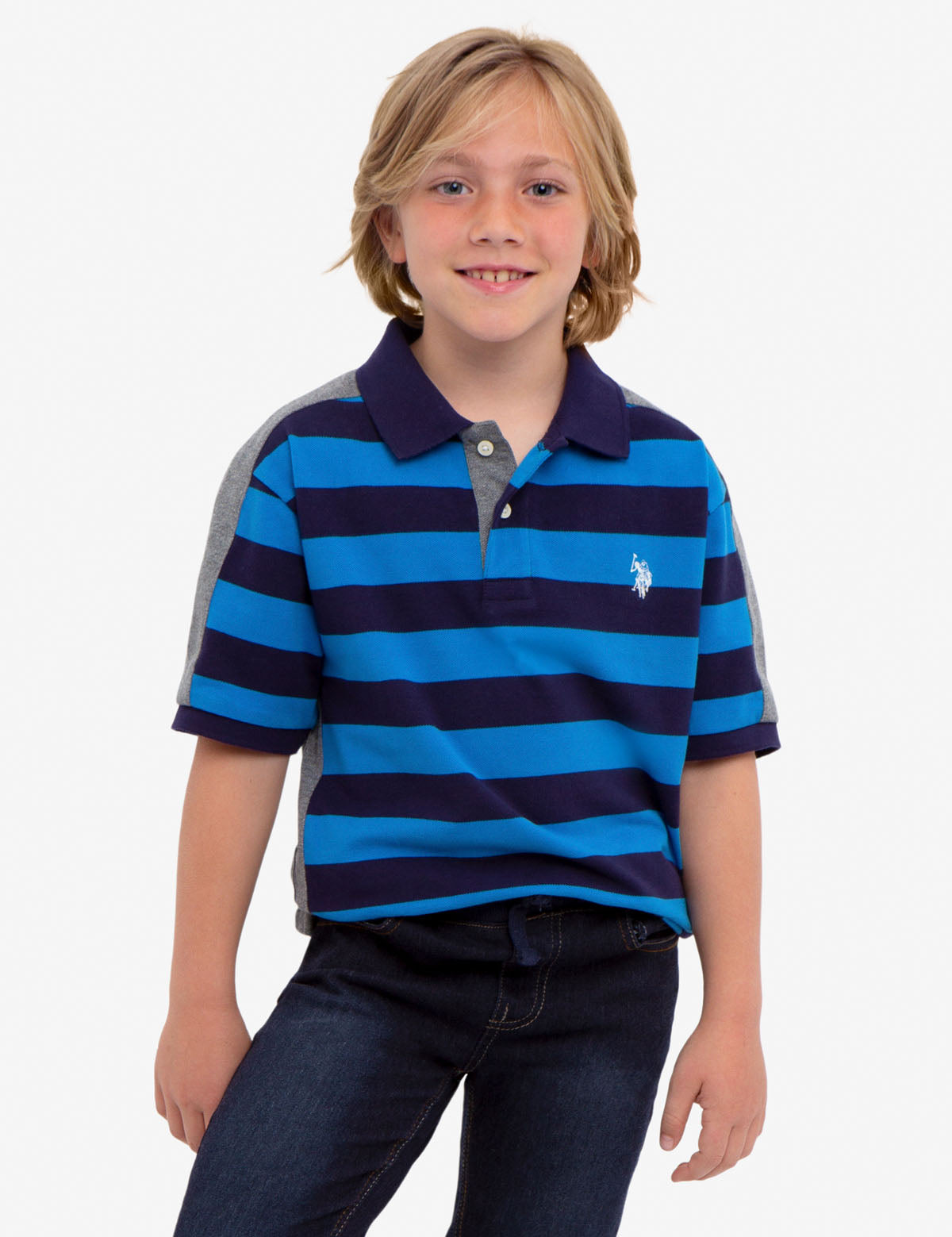 BOYS STRIPED COLORBLOCK PIQUE POLO SHIRT