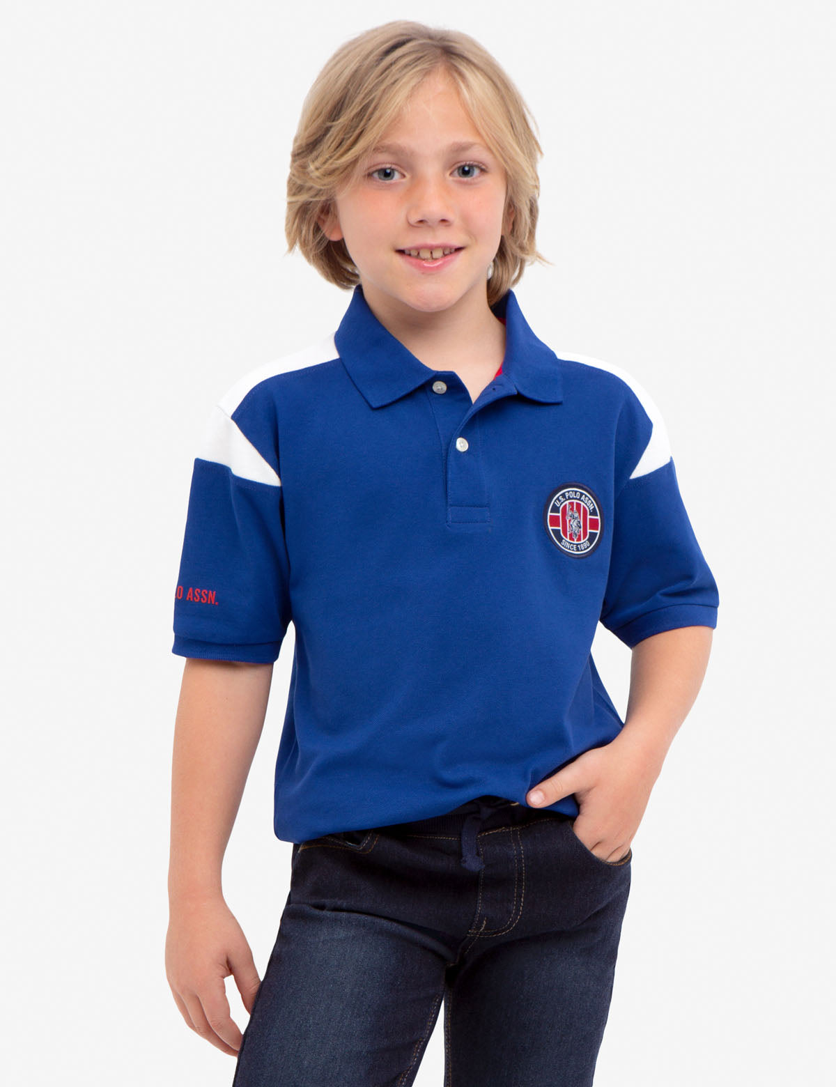 BOYS U.S. POLO ASSN. PIQUE PATCH POLO SHIRT