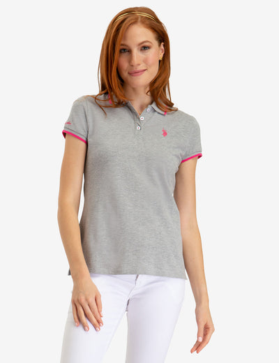 STRETCH SMALL LOGO TIPPED POLO SHIRT