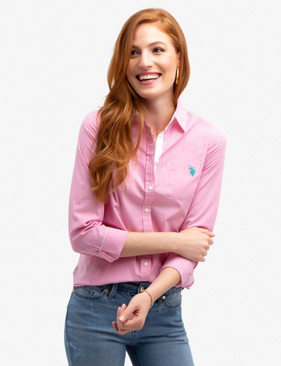 STRETCH POPLIN WOVEN SHIRT - U.S. Polo Assn.