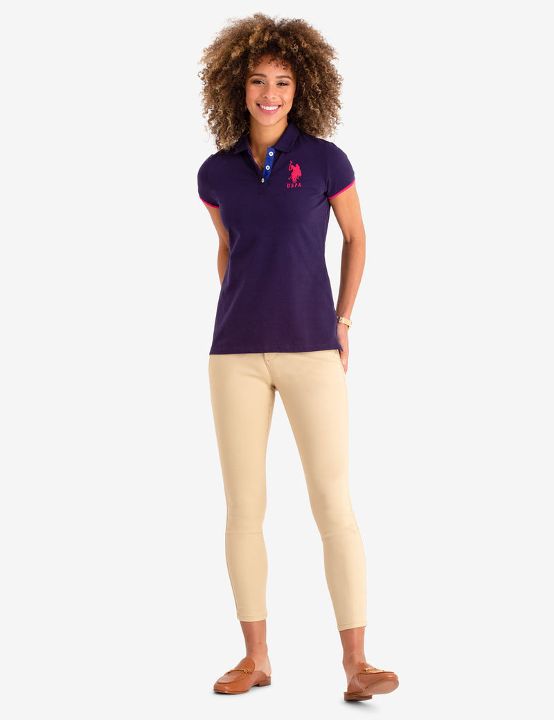 STRETCH BIG LOGO TIPPED POLO SHIRT