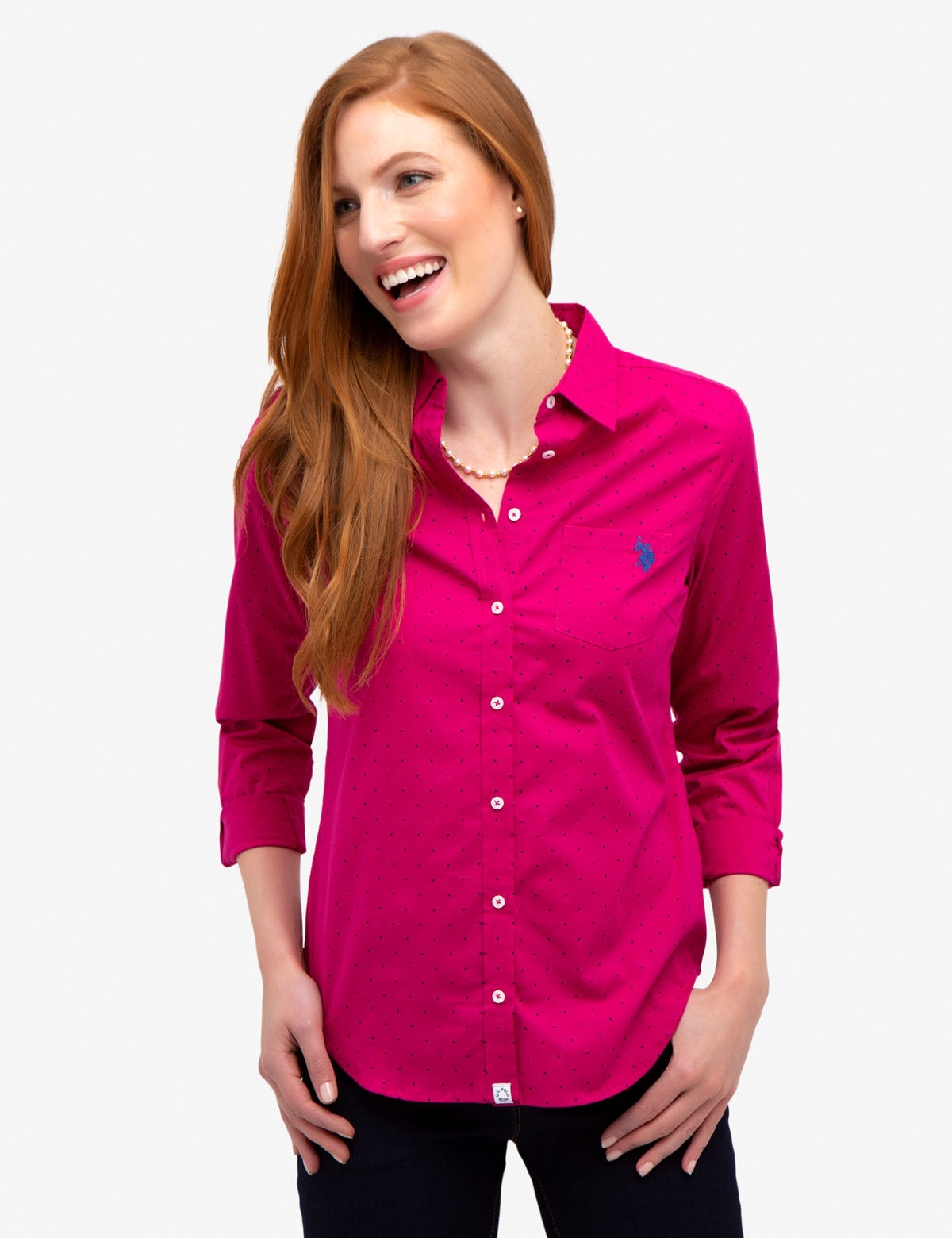 DOT STRETCH POPLIN SHIRT