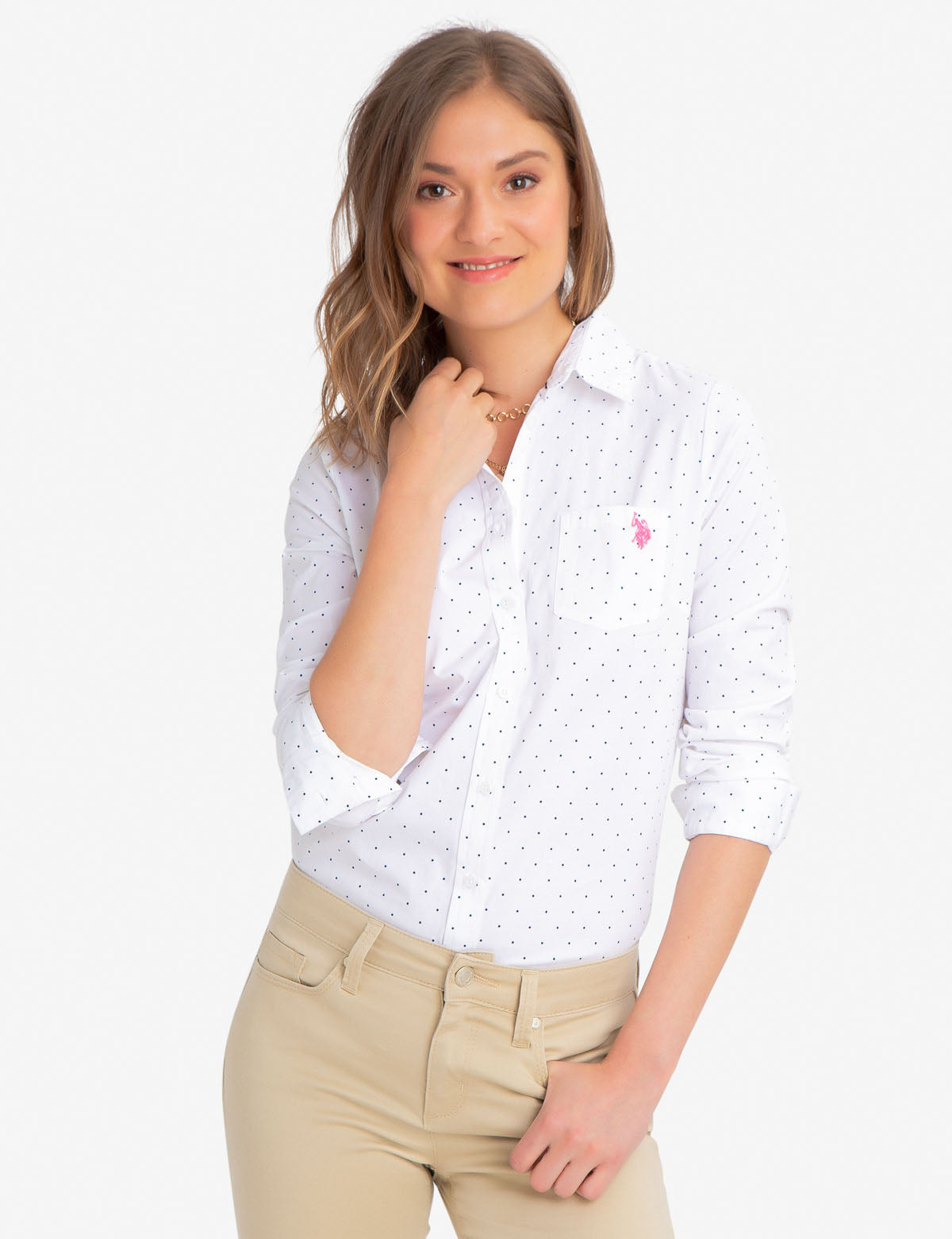 STRETCH DOT POPLIN SHIRT - U.S. Polo Assn.