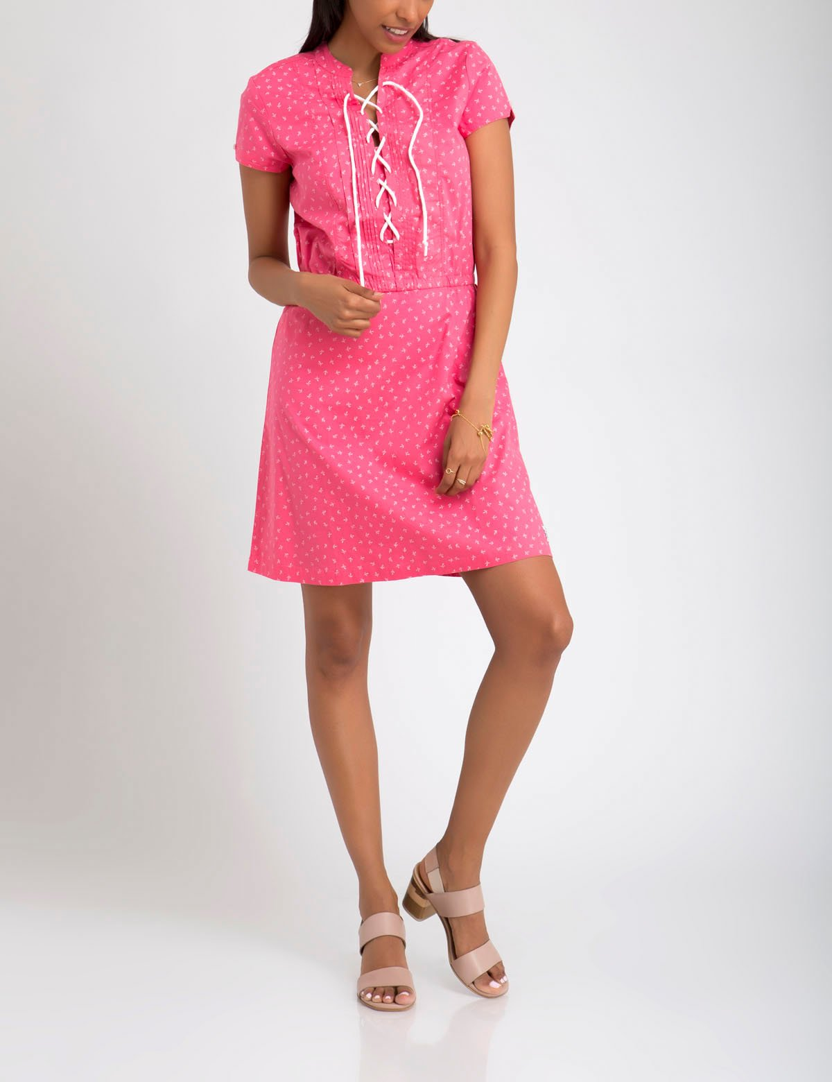LEAF BUD PRINT LACE UP DRESS - U.S. Polo Assn.