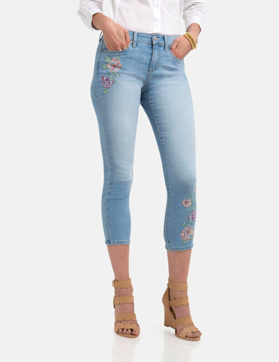 STRETCH FLORAL SKINNY FIT CROP JEANS