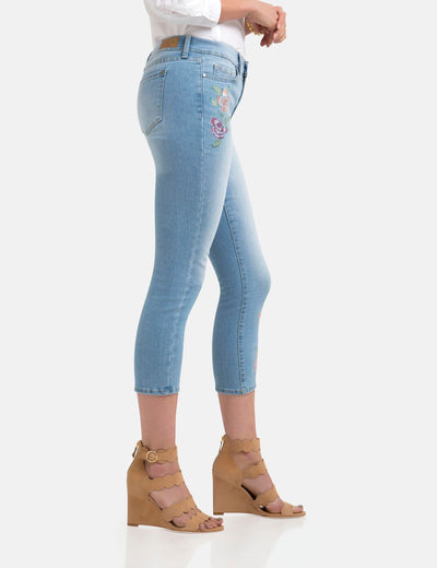 STRETCH FLORAL SKINNY FIT CROP JEANS - U.S. Polo Assn.