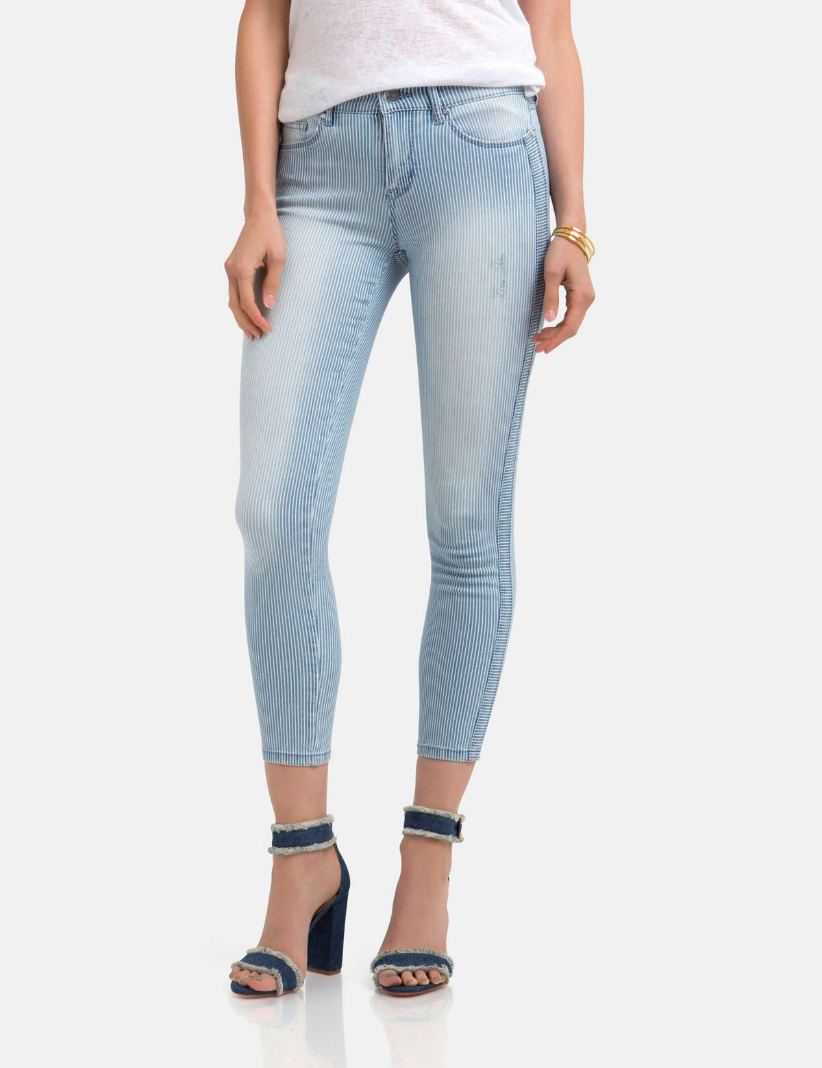 STRETCH RAILROAD STRIPE SKINNY CROP JEANS