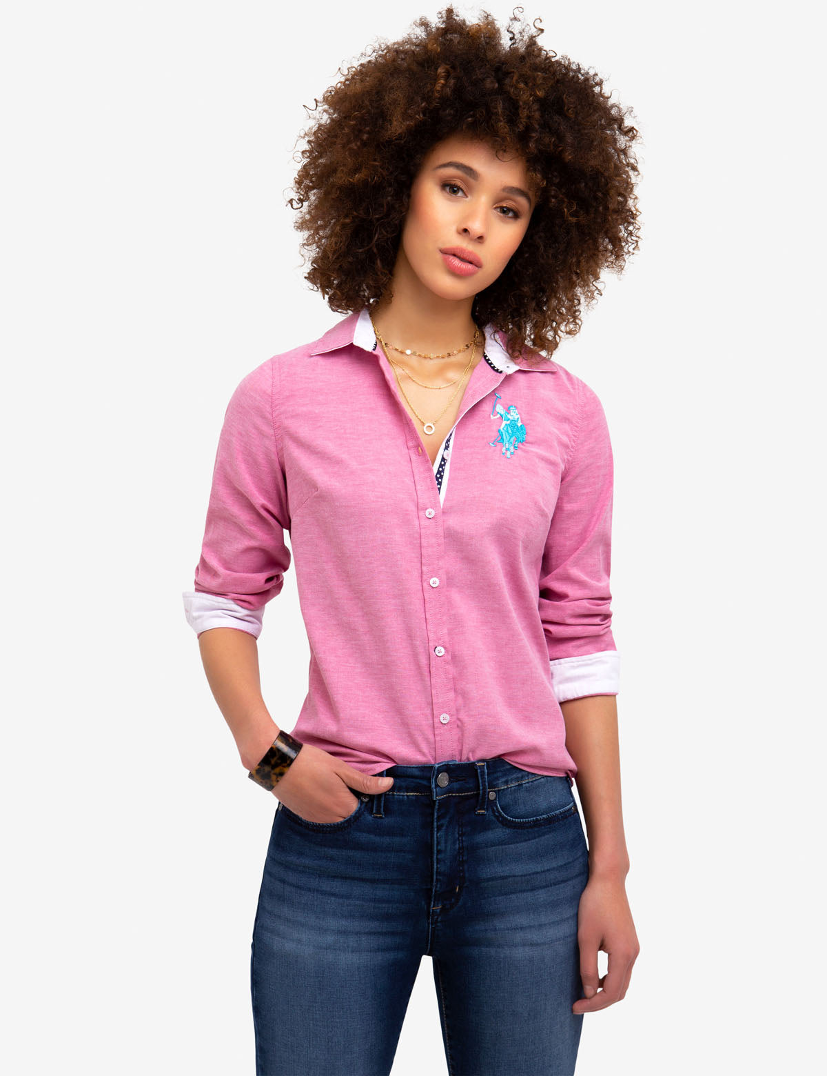 STRETCH OXFORD MULTI TONAL LOGO SHIRT - U.S. Polo Assn.