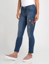 STRETCH SKINNY FIT FLORAL EMBROIDERED JEAN