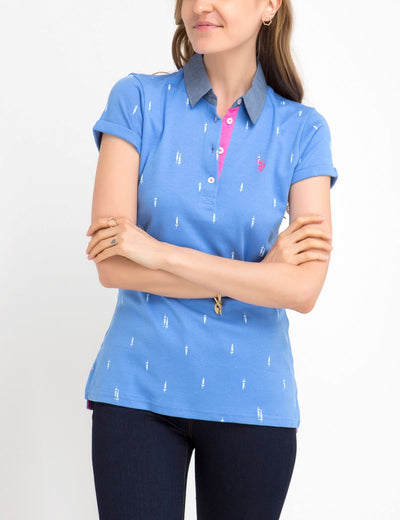 PREMIUM PRINT POLO SHIRT WITH CHAMBRAY COLLAR