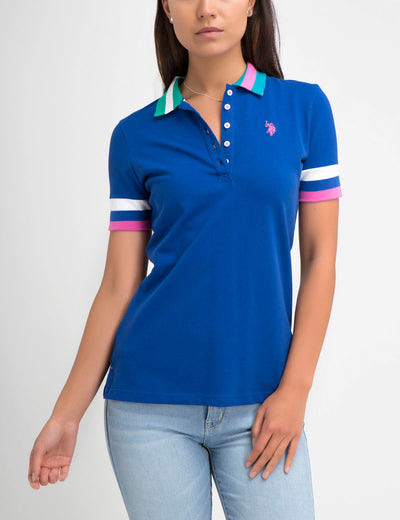 STRETCH MULTI COLOR TIPPED POLO SHIRT