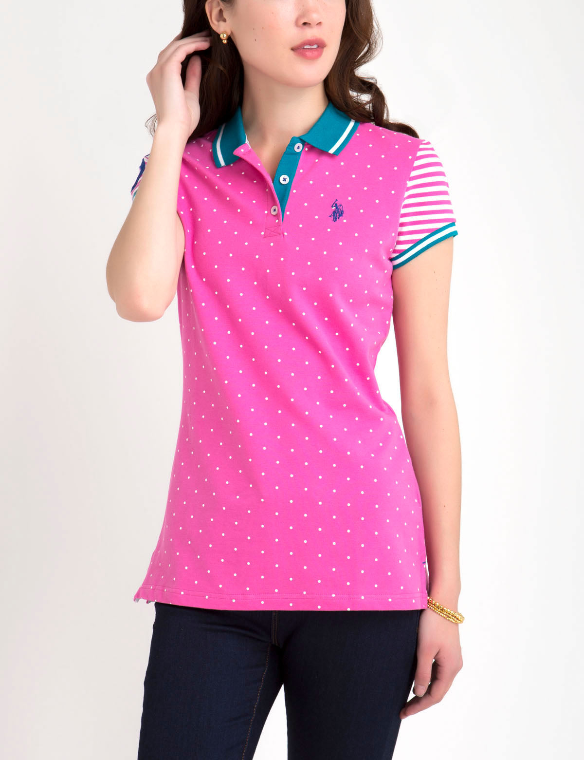 PREMIUM DOT STRIPE MIX POLO SHIRT - U.S. Polo Assn.