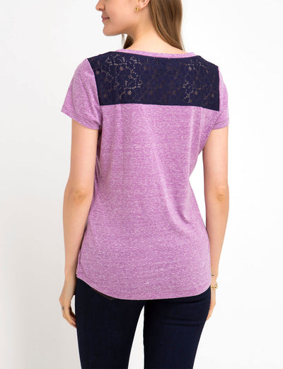 LACE SHOULDER AND POCKET T-SHIRT - U.S. Polo Assn.