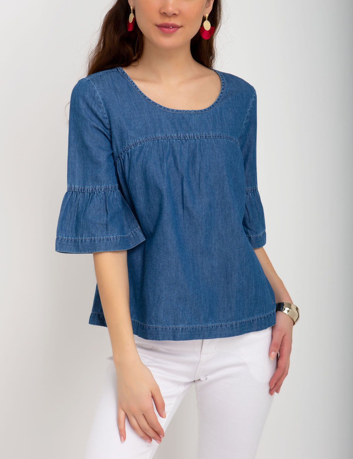 DENIM FLOUNCE SHIRT
