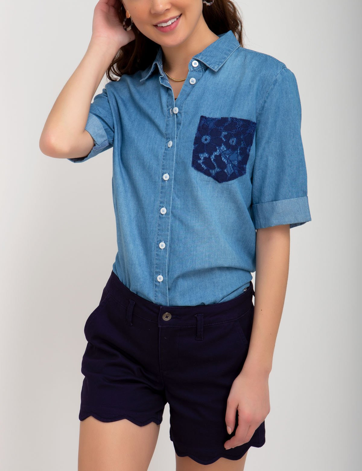 DENIM LACE POCKET SHIRT